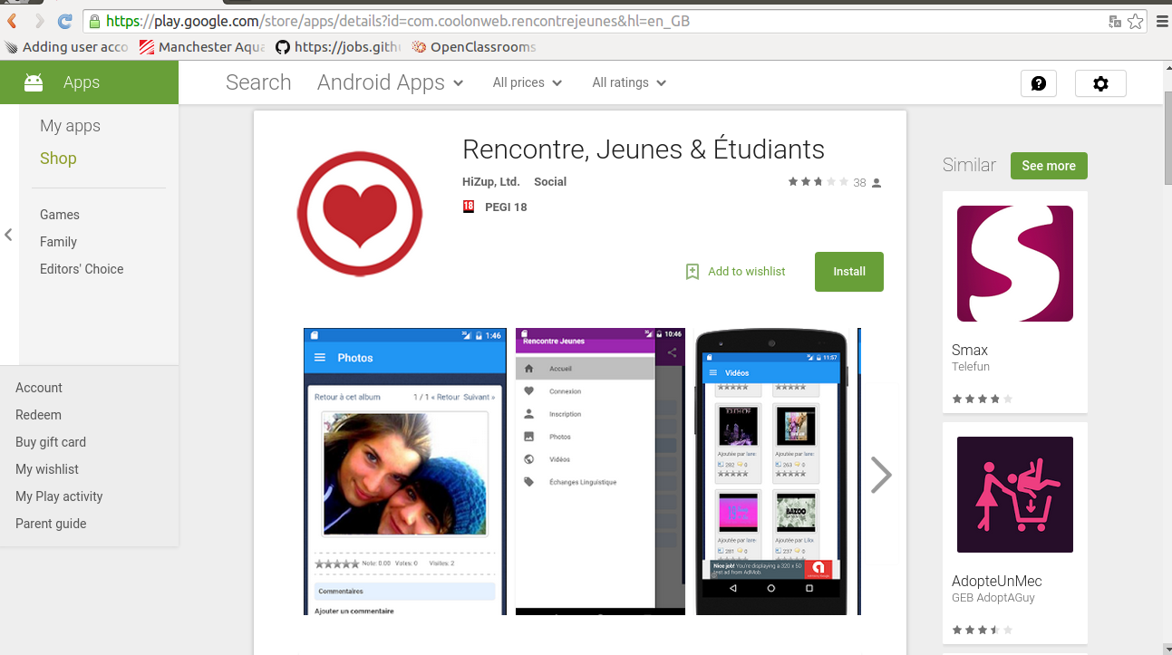 Site rencontre android market