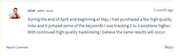 Backlinking comment on Flippa