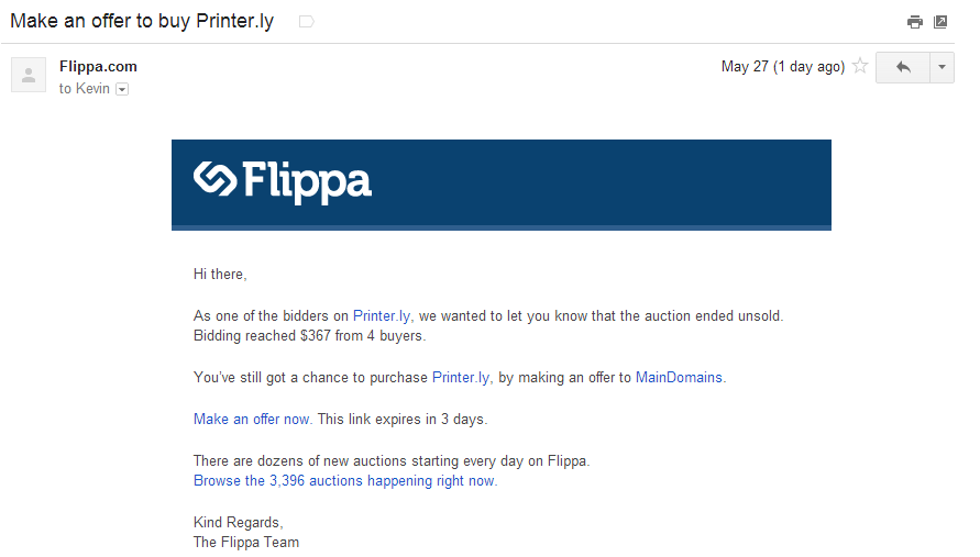 Post-Auction Negotiation Email on Flippa