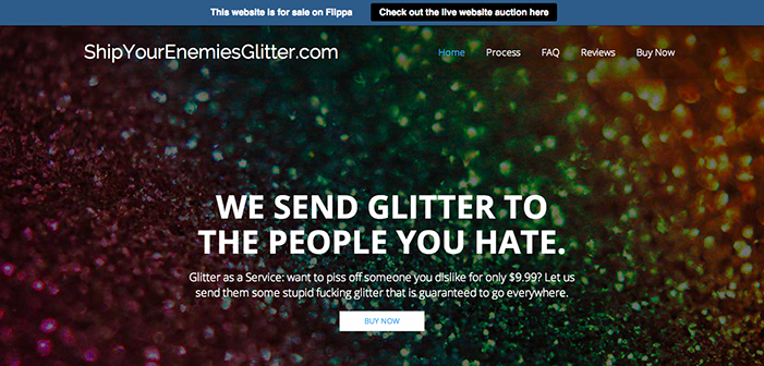 ShipYourEnemiesGlitter.com is for sale on Flippa, looks to be the most active website auction ever!