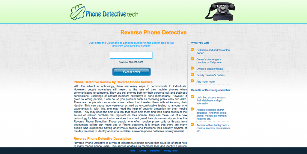 Website PhoneDetectiveTech.com is for sale on Flippa