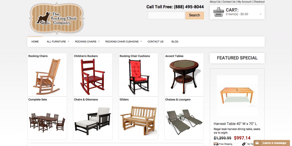 The Rocking Chair Company is for sale on Flippa