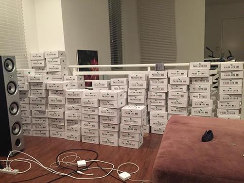 Orders awaiting shipment at David's apartment.