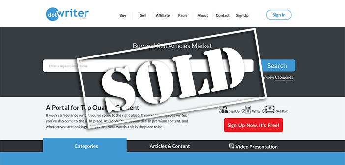 Sold website DotWriter.com for $62,500 on Flippa
