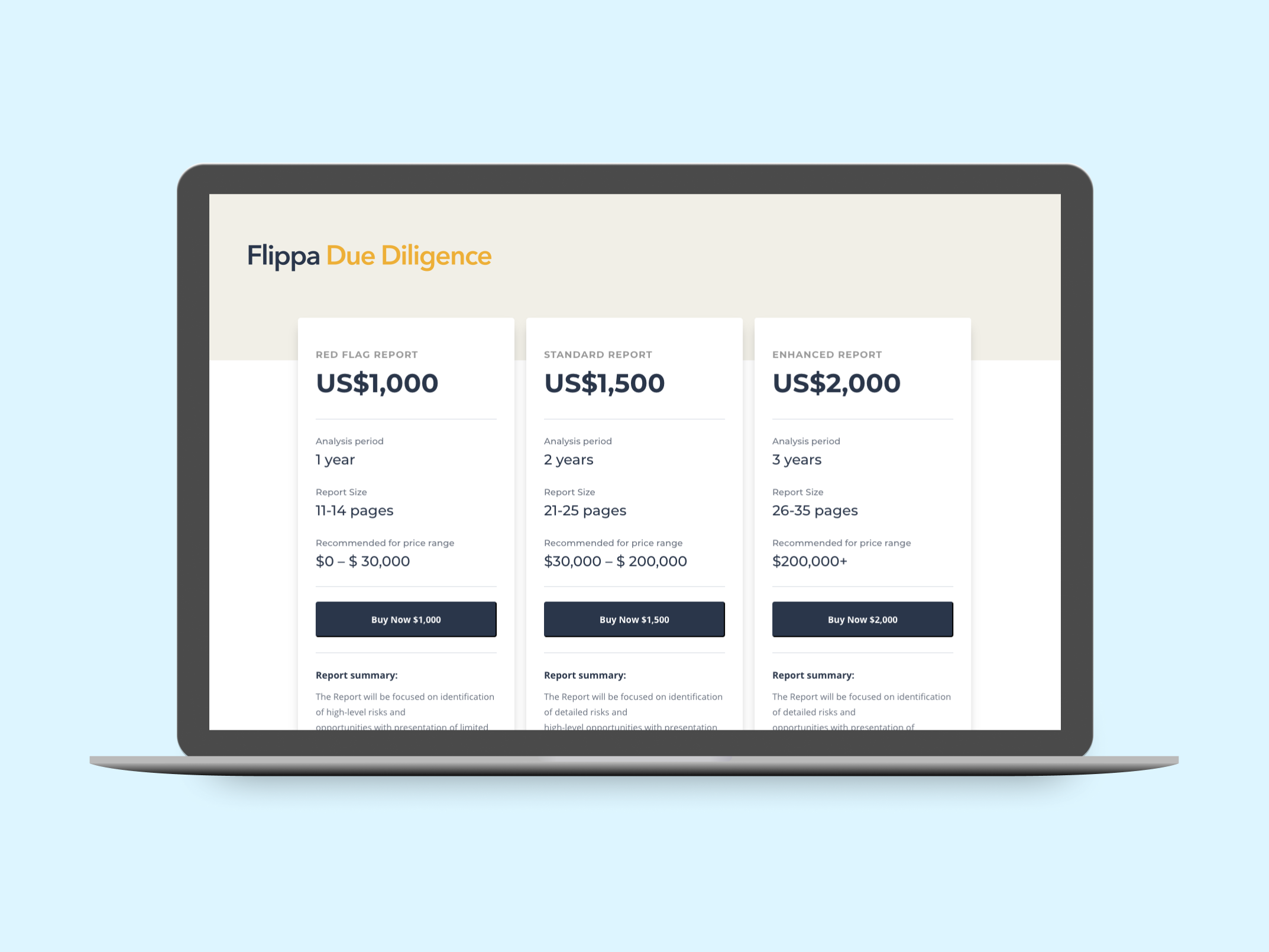 Introducing New Due Diligence Packages